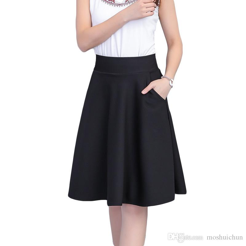 2019 Midi Skirts Womens High Waist A Line Skirt Knee Length Casual Solid  Polyester Skirt Black Ladies Pleated Skirt Femininas From Moshuichun b517b7ce4