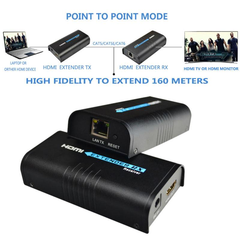 HDMI Repeater HDMI Extender Can Extend 120m(393ft) By Rj45 Cat5/cat5e/cat6  Support 1080P Can Work Like HDMI Splitter