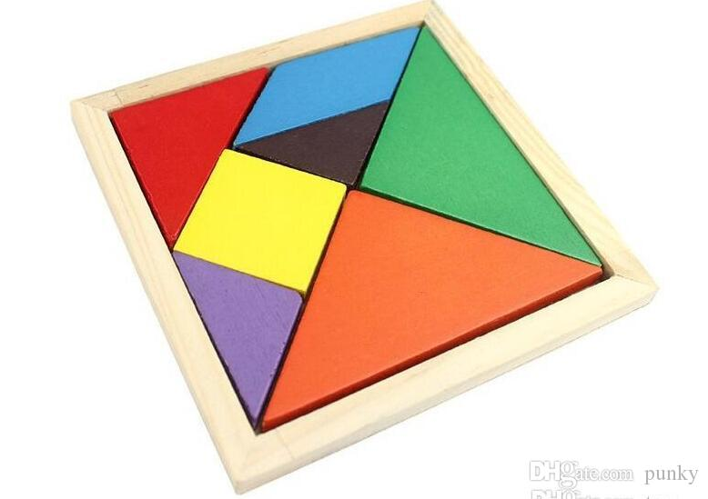 Colorful Tangram Children Mental Development Tangram Wooden Jigsaw Puzzle Educational Toys for Kids intellectual Building Blocks