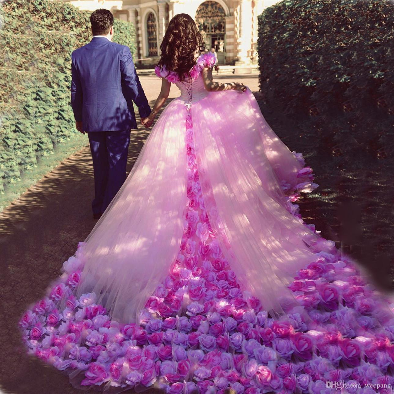 Compre Hecho A Mano Rose Flowers Pink Wedding Dresses 2017 Vestido ...