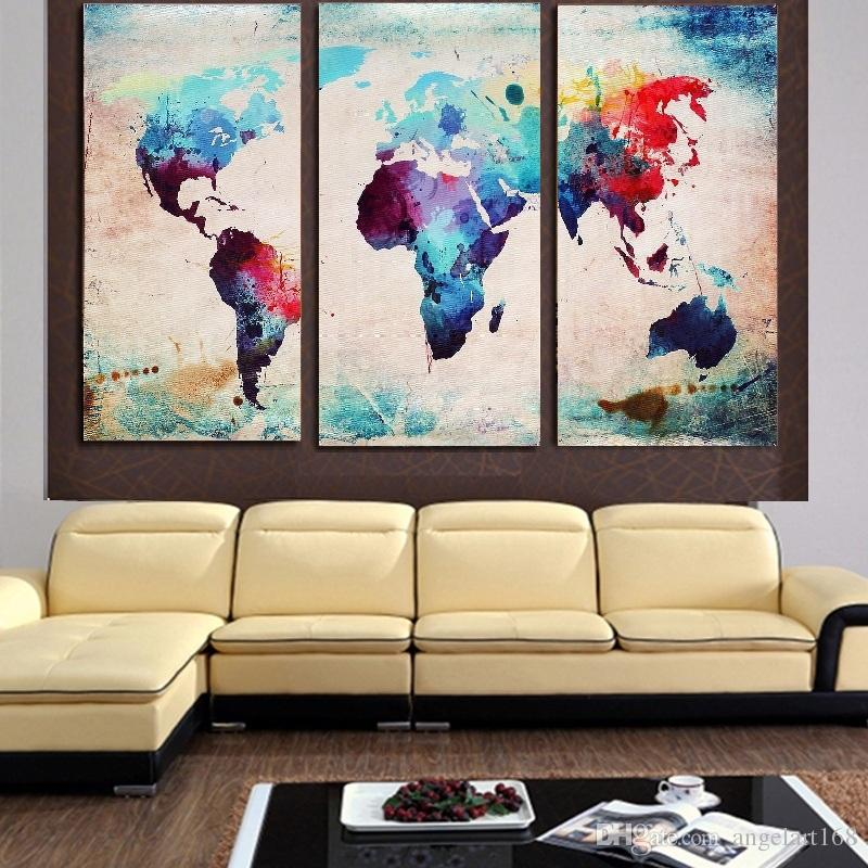 2018 Unframed World Map Oil Painting On Canvas Giclee Wall Art ...