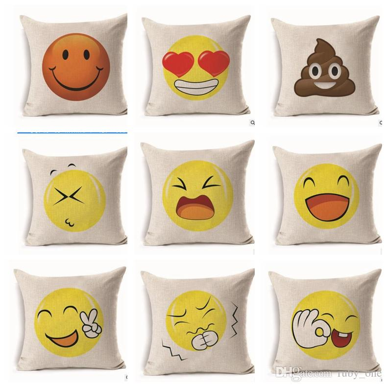 Emoji Pillow Case cover Fiberflax Cushion Cover Love Smile Cushion Cover  Fiberflax Pillowcase Home Decor 100pcs KKA1841