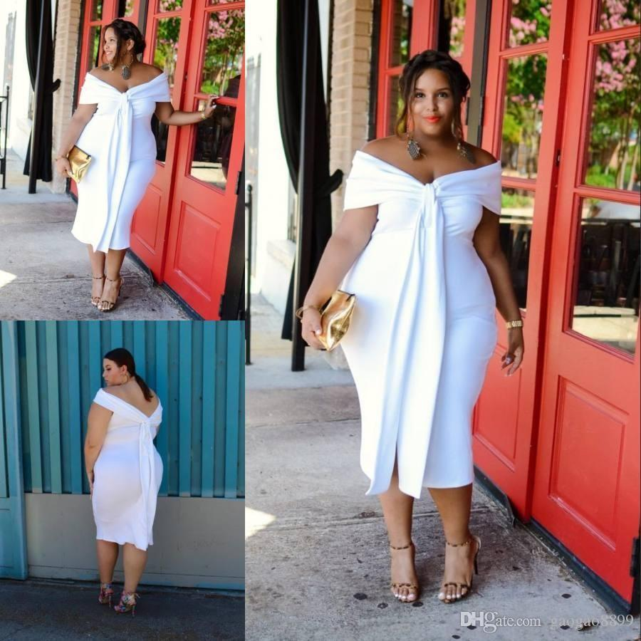 Sexy White Big Girl Plus Size Prom Dresses Off The Shoulder Tea