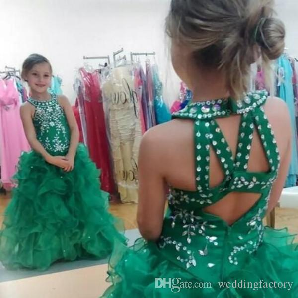 girls pageant dresses Emerald Green Beads Sequins Crystals Halter Sleeveless Ruffles Toddler Pageant Dresses for Teens Hollow Back