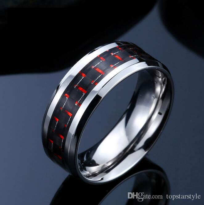 8mm joyería de moda anillo de carburo de tungsteno anillo azul incrustaciones de fibra de carbono para hombres y mujeres TUR-003