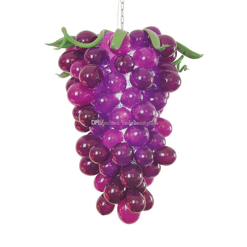 New Arrival Glass Bubble Chandelier European Style Cute Grape Shape Purple Party Decoration Mini Bedroom Lamp