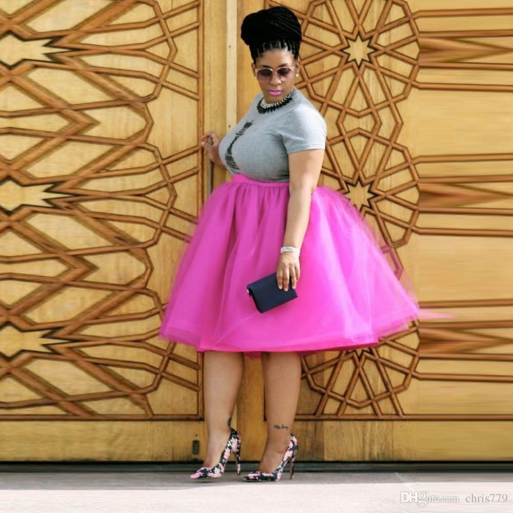 Mode Plus Size Jupe En Tulle Une Ligne De Genou Longueur Puffy Jupe Tutu Avec Doublure Personnalisé Plus Jupe Pour Les Femmes