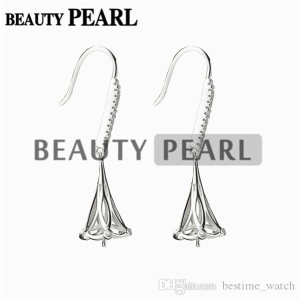 Bulk of Earrings Setting for Round Pearls or Cabochons 925 Sterling Silver Zircon Earring Blanks
