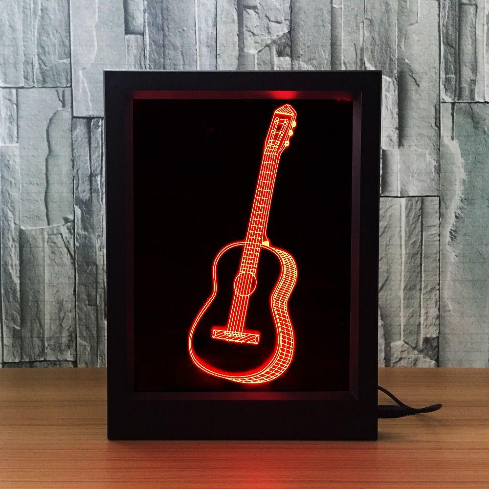 3D Guitar LED Photo Frame IR Remote 7 RGB Lights Battery or DC 5V Factory Wholesale Dropship