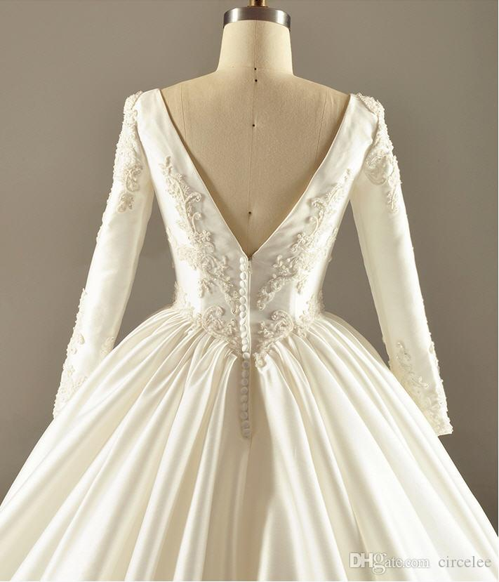 2016 Plus Size Winter Long Sleeve Ball Wedding Dresses Sweep Train Vintage Style A-Line Simple White Gowns Classic Bridal Wear