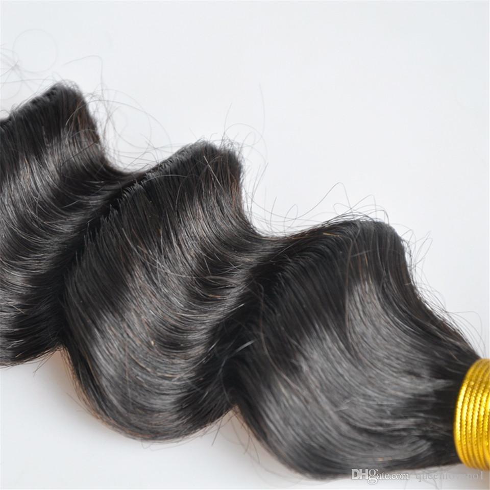 브라질 버진 인간의 머리카락 느슨한 깊은 파도 곱슬 처리되지 않은 레미 헤어 웨이브 더블 Wefts 100g / 번들 1Bundle / Hair Wefts