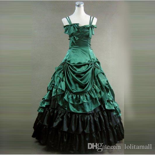 652fd0826e 2019 Hot Seller Green Southern Belle Victorian Period Satin Ball Gown Dress  Reenactment Clothing Lolita Costume From Lolitamall