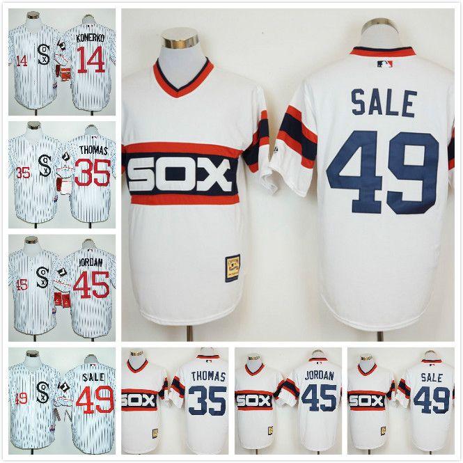 ... Jersey; 2017 Men Chicago White Sox 14 Paul Konerko 45 Jordan 35 Frank  Thomas 49 Chris Sale