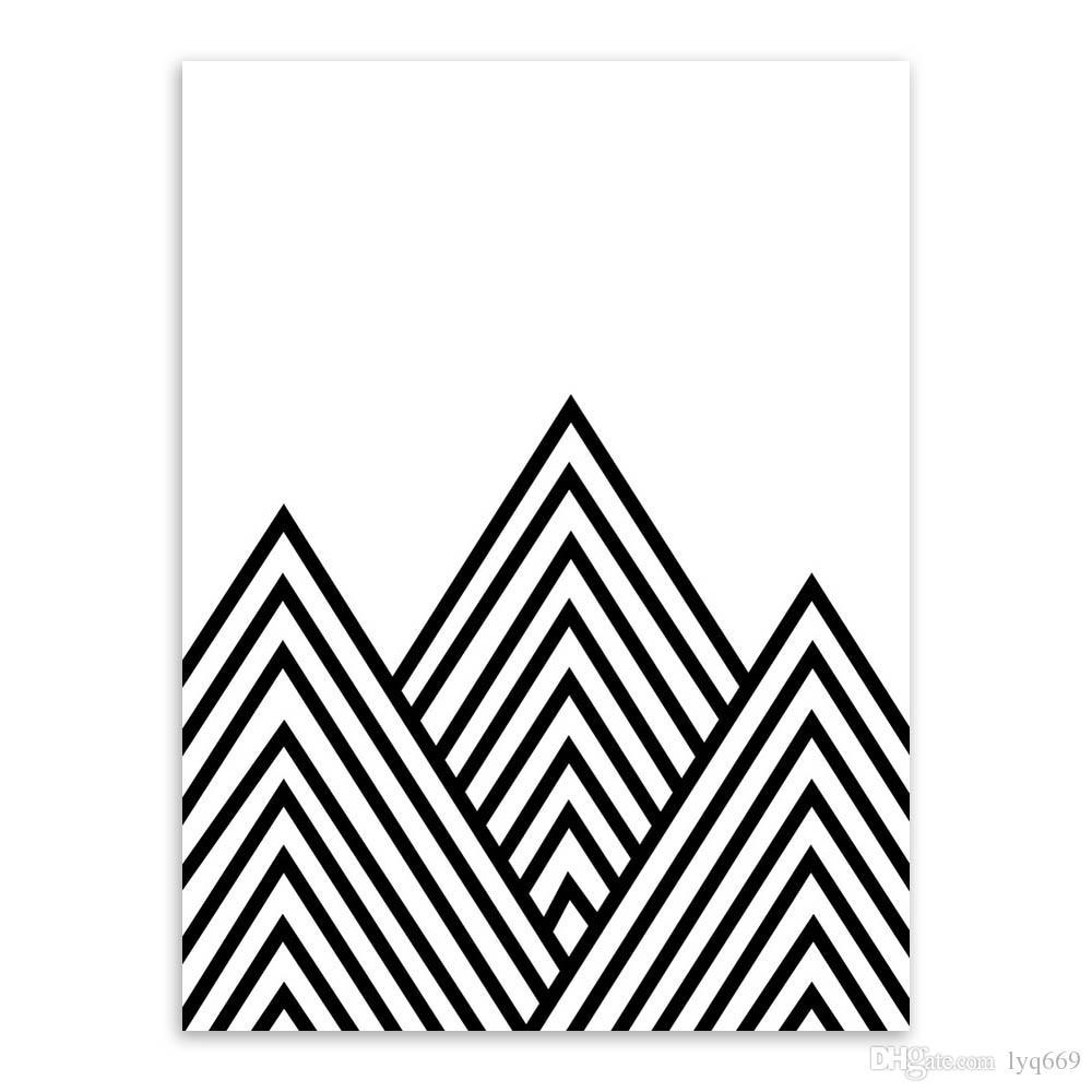 Satin Al Siyah Beyaz Modern Minimalist Geometrik Sekil A4 Sanat
