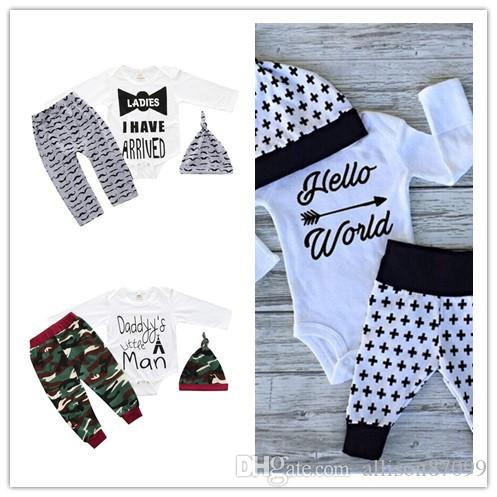 656385cea 2019 Baby Outfits Long Sleeve Letters Baby Rompers Boy Clothes ...