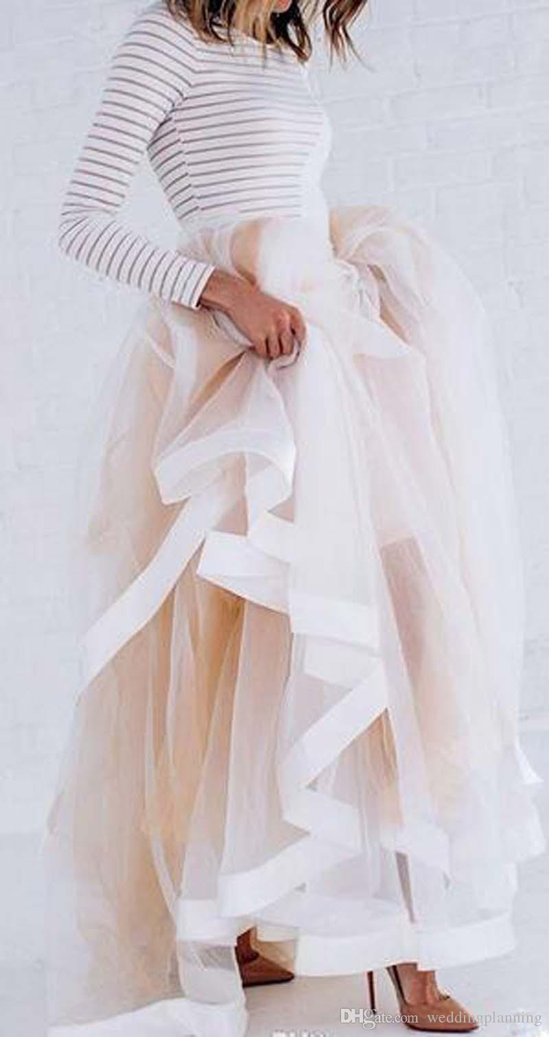 Tulle Style Maxi Skirt with Satin Ribbon Edge Champagne Ruffled Stylish Skirts for Women Sexy Woman Long Winter Skirts