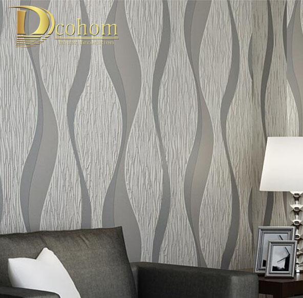 Acheter Salon Canape Blanc Gris Rayures Papier Peint 3d Design