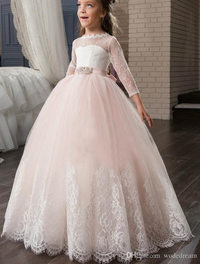 bd0fcc8bac Cute Blush Pink Tulle Flower Girl Dresses Scoop Long Sleeve Lace Bow Sashes  Appliques Sheer Back Kid Prom Dress For Wedding Maxi Dresses Dress From ...