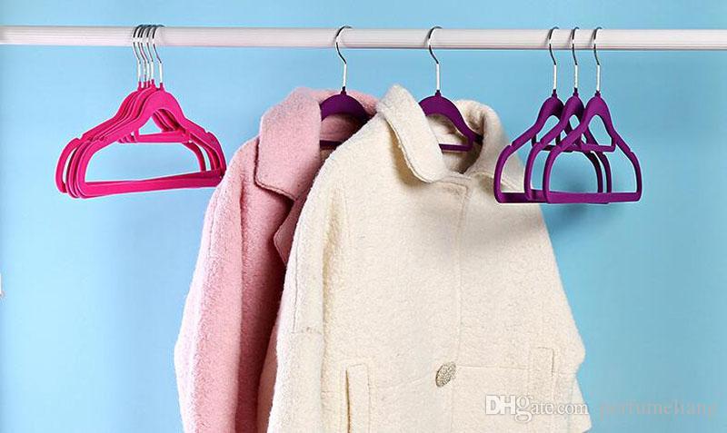 Velours Cintres Économie D'espace Revêtement De Pile Revêtement Velours Cintres Vêtement Porte-Cintres Antidérapant ZA4872