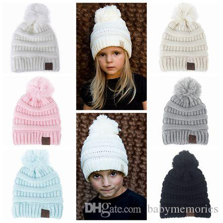 b4caa9a1048 2019 2017 Kids Winter Hat Baby Hats Caps Wool Knitted Hats Boys Girls Beanie  Hat Pom Pom Hat Children Handmade Crochet Baby Bonnets Top Wholesale From  ...