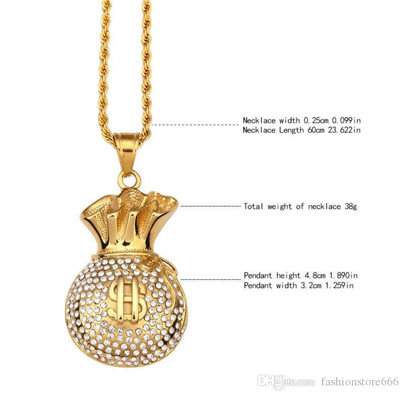 Gold Plated Purse Pendant Necklace Crystal Rhinstone Dollar Sign Cool Fashion Money Bag Shape Hip Hop Men Jewelry For Gifts