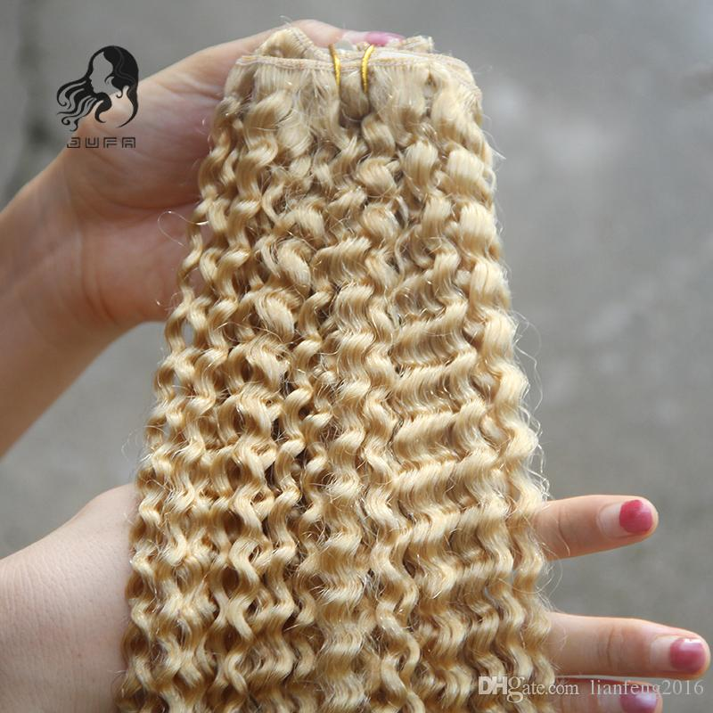 Unprocessed African American Clip In Human Hair Extensions Malaysian Kinky Curly Virgin Hair #613 Bleach Blonde Clip Ins Hair 100g