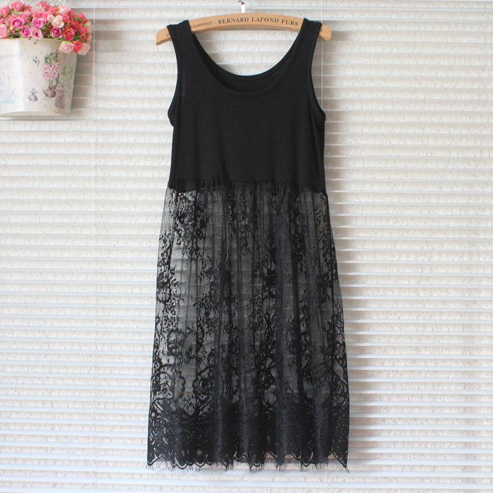 Wholesale Women Lace Dress Casual Sexy Beach Vintage Mesh Hollow Out Bodycon Slim Party leeveless A-Line Black White Shirt Short Mini Dress