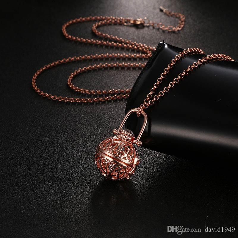 Difusor Medalhão Colar Aromaterapia Difusor Colares de Óleos Essenciais Difusor Colar Moda Novo Medalhão Pingentes Colar 5 Cores