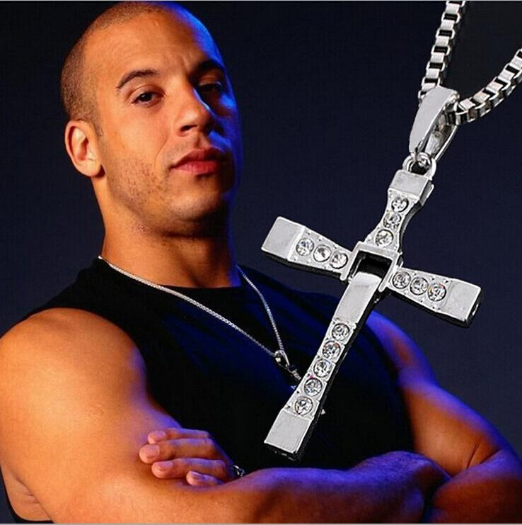 Wholesale-Fast and Furious Cross Necklaces&Pendants Movie Jewelry Classic Rhinestone Pendant Sliver Cross Necklaces Pendants For Men