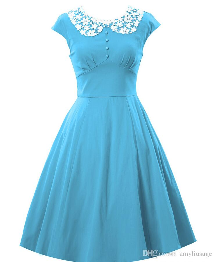 80693e03b7e4 Women S Vintage 1940s Celeb Lace Collar Retro Swing Evening Party Skaters  Ball Gown Dress V063 Black Dressed Casual White Lace Dress From Amyliusuge