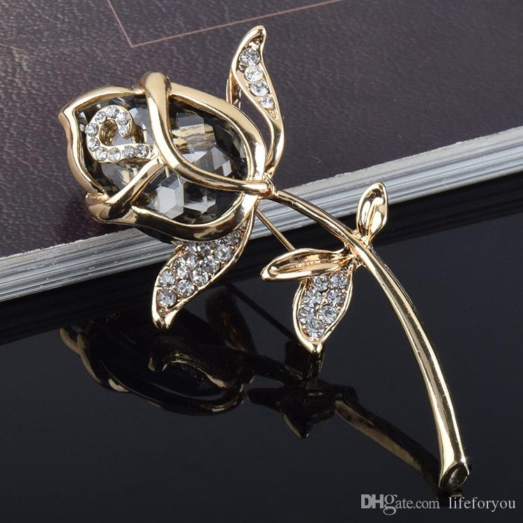 Vintage Rhinestone Brooch Pin rose Jewelry Brooch wedding corsage for bridal wedding invitation costume party dress pin gift