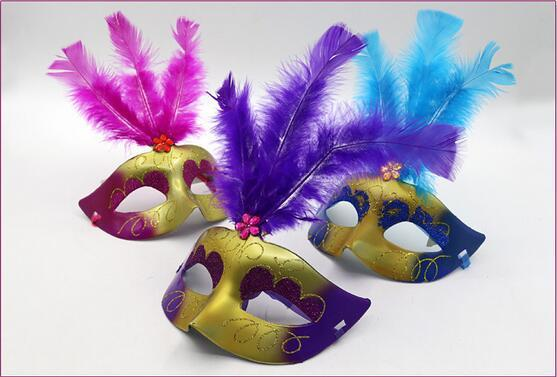 On sale Supper Mini Mask Venetian Masquerade Feather Mask party decoration cute wedding gift Carnival Mardi Gras Prop mix color
