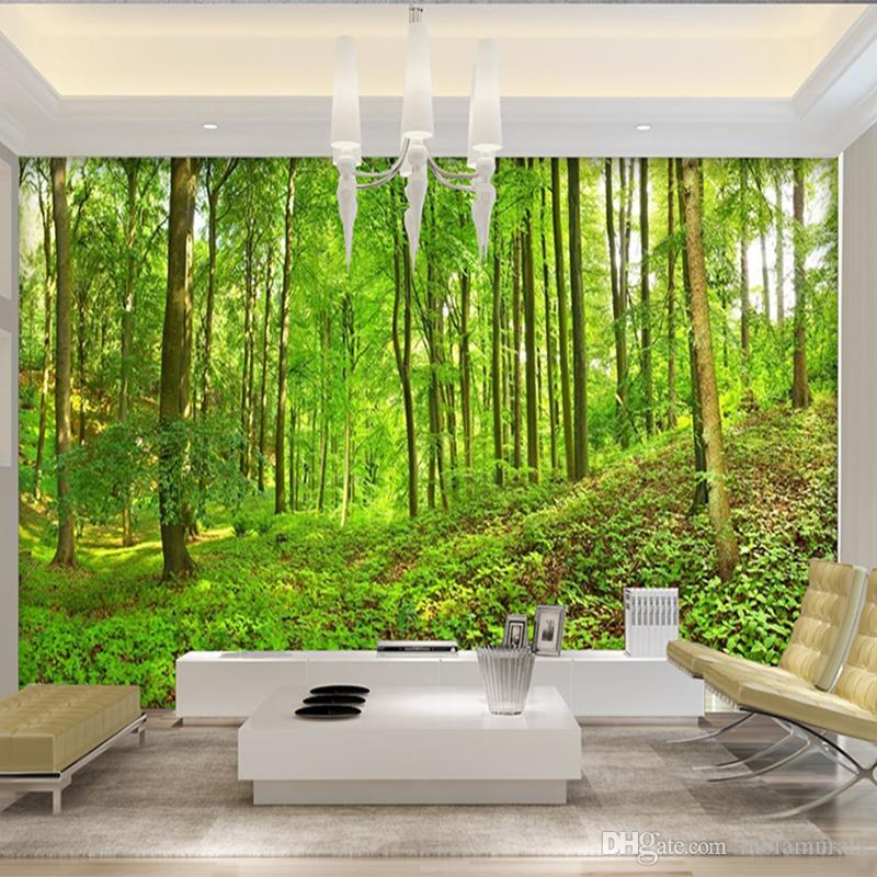 Benutzerdefinierte 3D Dreidimensionale Wandbild Tapete Wohnzimmer Schlafzimmer Sofa TV Hintergrundbild Grüne Bäume Wald Fototapete
