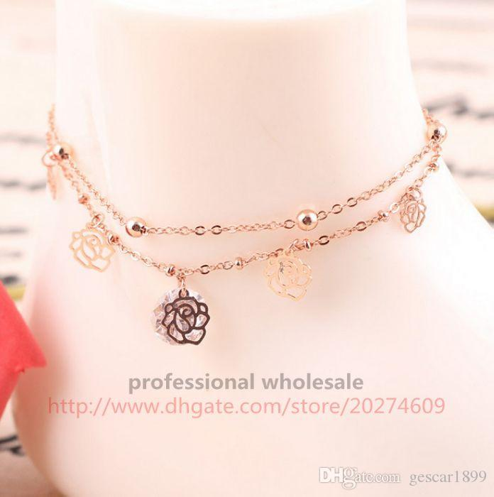Hot Sale Rose Gold Alloy 2 Layers Hollow Rose Crystal Anklets Foot Chain Fine Jewelry For Woman Lady Girls