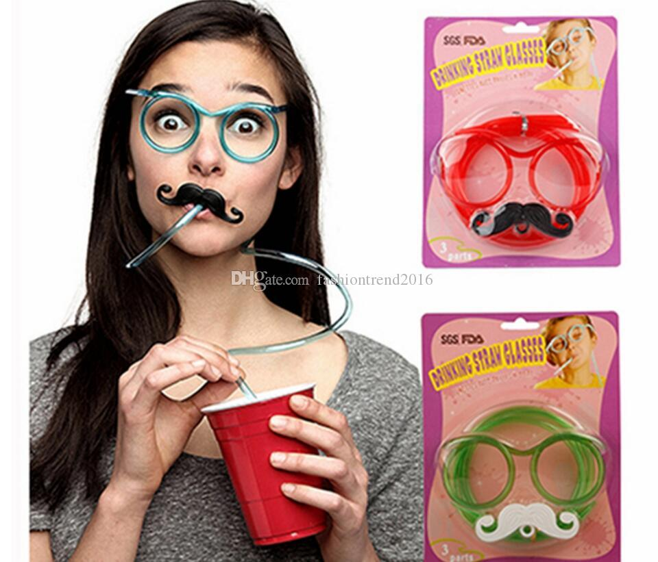 Funny Mustache/Beard Glasses Straws Sets Baby Birthday/Wedding Party Decoration Drinking Straws Kids Toys