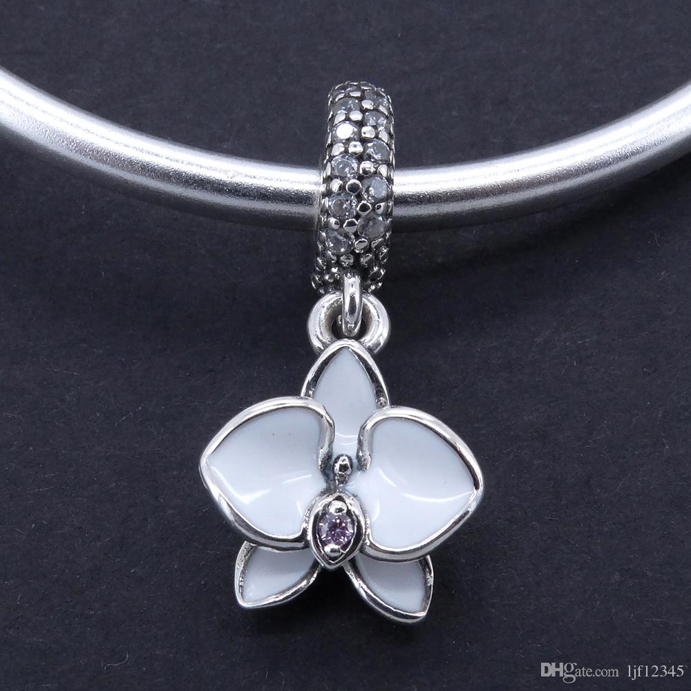 925 gioielli in argento sterling bianco orchidea ciondolo perline fascino fit pandora charms braccialetto braccialetto monili della donna che trovano 2017 estate