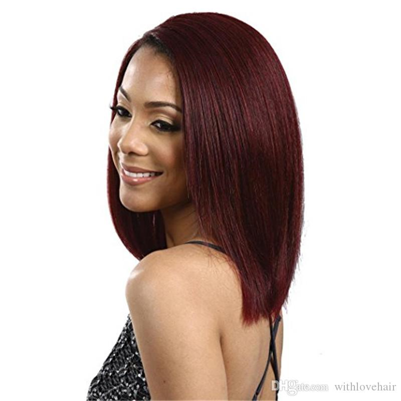 Burgundy 99j Brazilian Bob Wig Full Lace Human Hair Wigs 130 Density Pre Plucked Bleached Knots With Baby Hair For Black Women