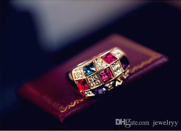 Luxury ful Austria Crystal Ring Women Rhinestone Cluster Ring for wedding jewelry