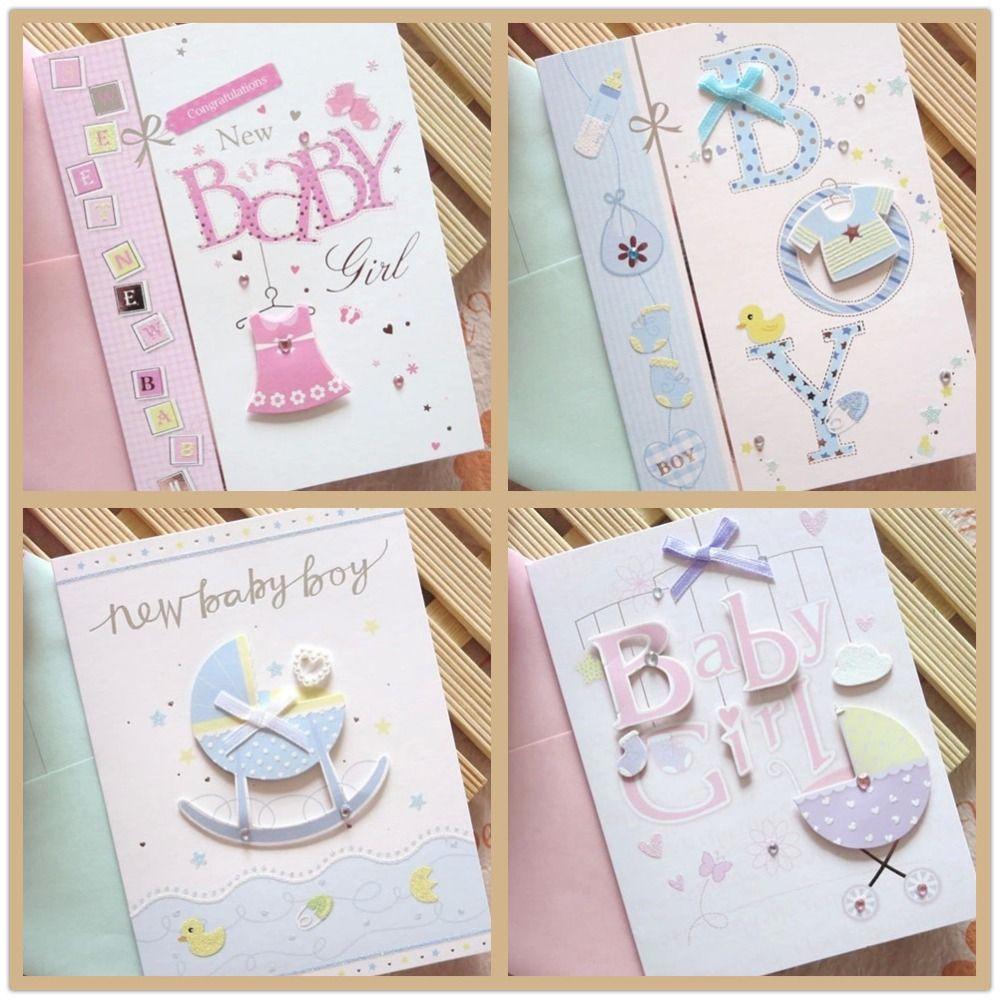 Wholesale Newborn Babies Born Greeting Card Baby Shower Boy Girl