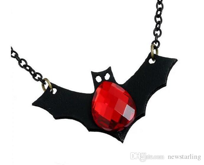 New Halloween Multilayer Black Lace Choker Necklaces Charm Vampire Bat Red Crystal Pendant Necklace Earrings For Women Fashion Jewelry Set