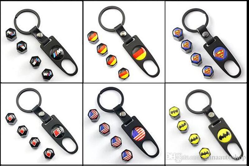 Car Styling SEAT Emblem Key Ring & Valve Caps Set Car Styling back 8 for AUDI S A4 A6 Q7 Q5 A5 Q3 A7 RS Accessories Keychain High Quality
