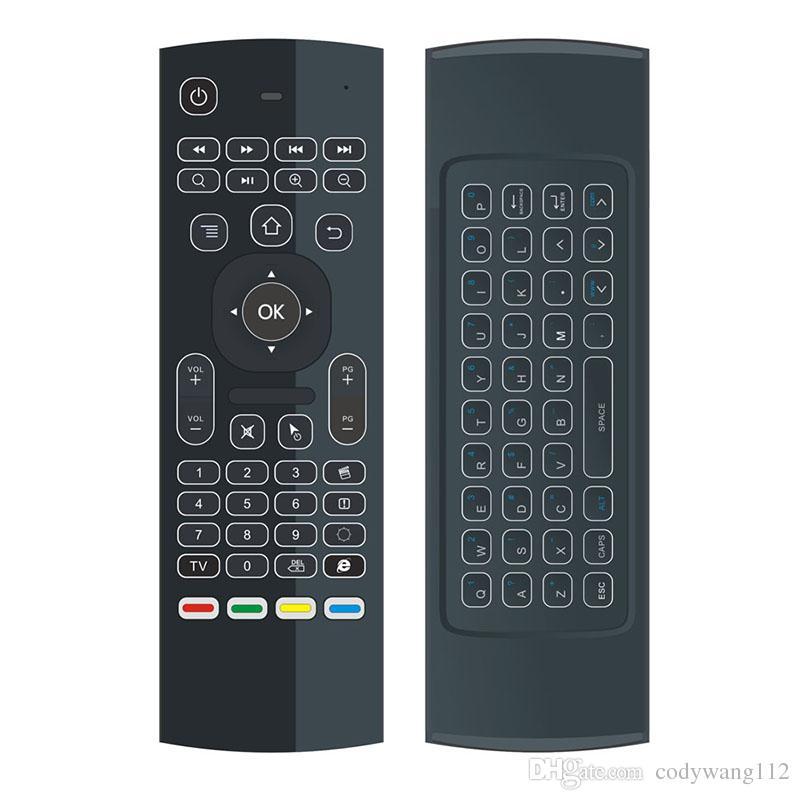 Teclado sin hilos de luz de fondo MX3 con IR de Aprendizaje 2.4G control remoto inalámbrico Fly Air ratón retroiluminada Para MXQ PRO T95M X96 Android TV Box PC