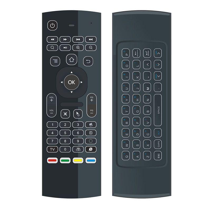 X8 Air Fly Mouse MX3 Retroilluminato 2.4GHz Tastiera wireless Telecomando Somatosensoriale Apprendimento 6 assi senza microfono Android TV Box