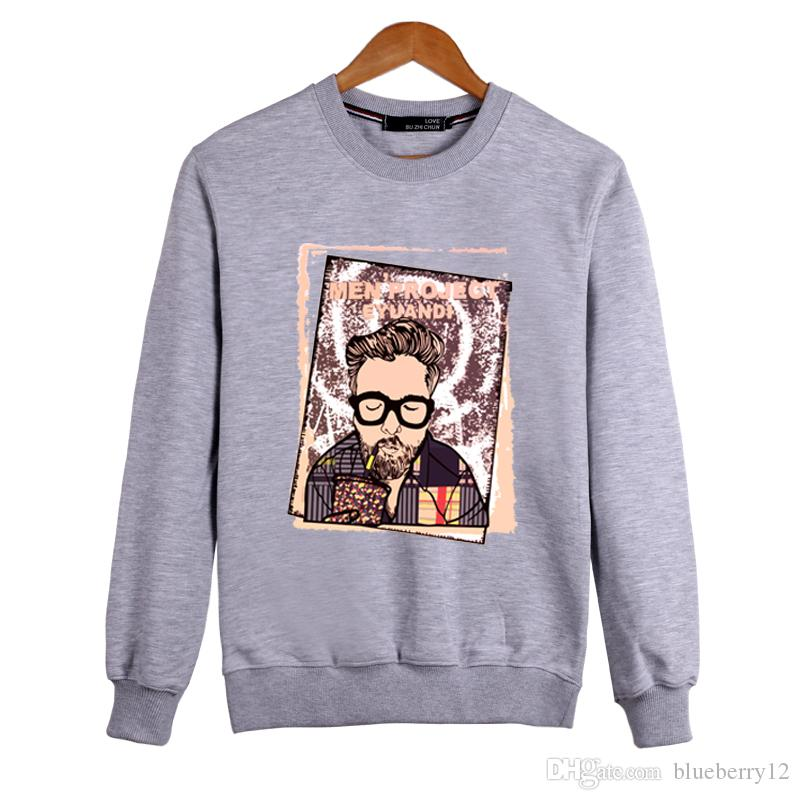 L-6XL Cotton Mens Hoodies Long Sleeve T shirt O-neck Hip hop Outdoor Casual Oversize Tee shirt For Autumn and Winter