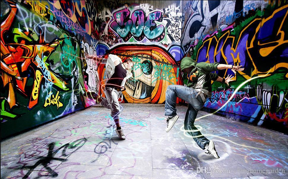 Dancing young street dance graffiti background wall murals mural 3d wallpaper 3d wall papers for tv backdrop