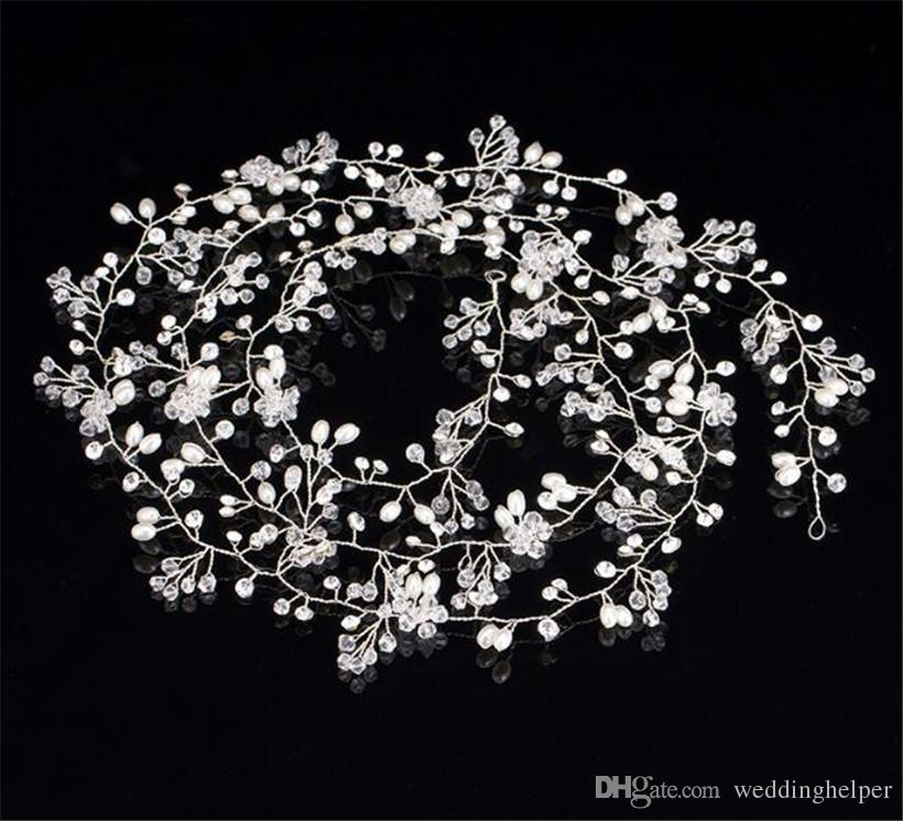 Wholesale Vintage Wedding Bridal Headband Hair Band Crystal Rhinestone Headpiece Jewelry Pearl Crown Tiara Headdress Silver Queen Prom Band