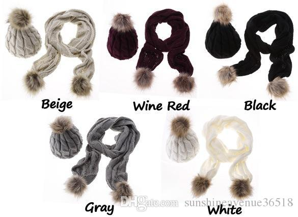 Großhandel Winter Warme Frauen Mode Gestrickte Schal Und Hut Set ...