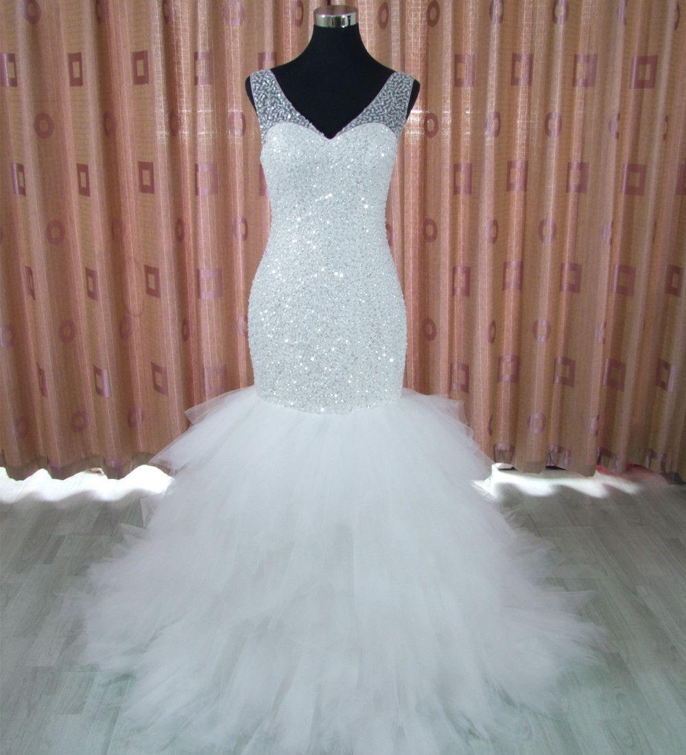 Arabic Style Plus Size Wedding Dress 2017 Deep V Neck Beading Layer ...