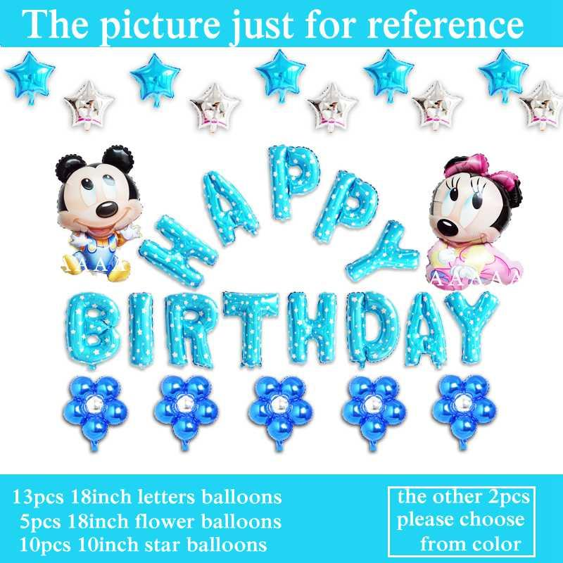 Happy Birthday Balloons Letter Set Mickey Minnie Foil For Boy Party Supplies Air Ballon Albuquerque Balloon From Shagualiuming