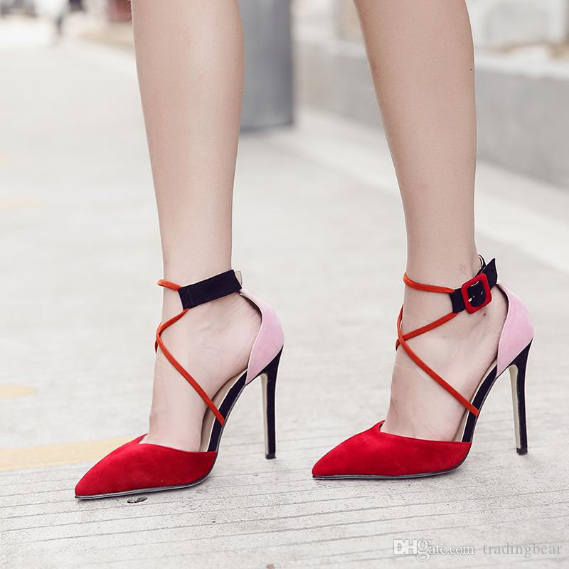 Color Block Patchwork Pointed Toe High Heels Ankle Strap Pumps D'orsay Shoes Size 35 to 40